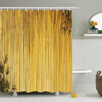 Tall Bamboo Stems and Leaves Shower Curtain