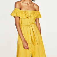 Yellow Off Shoulder Ruffle Trim Tie Waist Button Up Dress