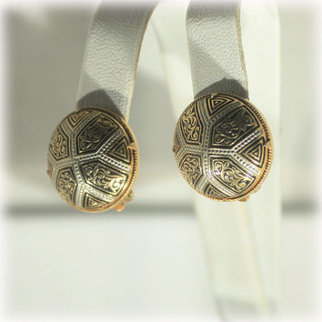 Toledoware Earrings, Damascene Earrings, Silver Gold Black, 1970S