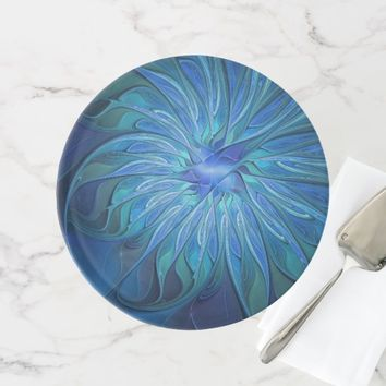 Blue Flower Fantasy Pattern, Abstract Fractal Art Cake Stand