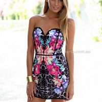 PRE ORDER - WARM THOUGHTS PLAYSUIT (Expected Delivery 30th June, 2014) , DRESSES, TOPS, BOTTOMS, JACKETS & JUMPERS, ACCESSORIES, 50% OFF END OF YEAR SALE, PRE ORDER, NEW ARRIVALS, PLAYSUIT, COLOUR, GIFT VOUCHER,,Print,JUMPSUIT,STRAPLESS,Black,MINI Australi