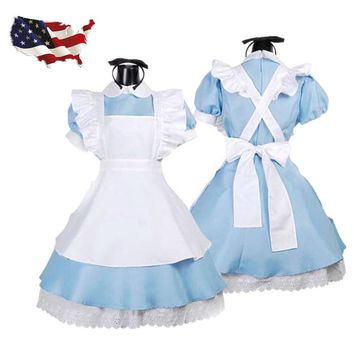 Vocole Women Alice in Wonderland Costume Fantasia Party Lolita Dresses Anime Maid Fancy Dress