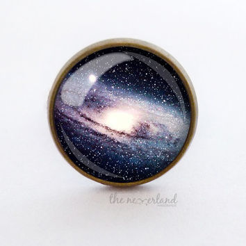 Star ring / stud earrings, galaxy Universe jewelry, woman gift, cabochon jewellery by The Neverland
