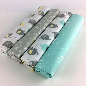 Lot of 4 pcs 102*76cm newborn Baby crib bed sheets  Flannel and Cotton