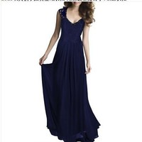 Autumn Prom Dress Sleeveless Hollow Out Backless V-neck One Piece Dress [6339032577]
