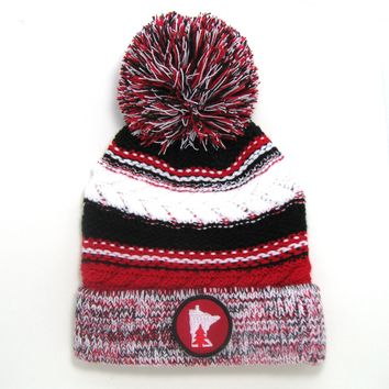 Chunky Knit Pom Pom Beanie - Minnesota red and black