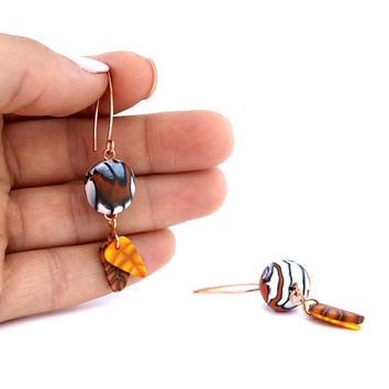 Bead Earring with leaves, Dangle Copper Earring
