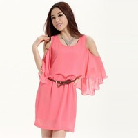 Chiffon Flounced Thin Dress Pink - Designer Shoes|Bqueenshoes.com