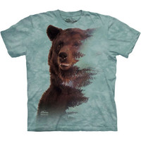 BROWN BEAR FOREST T-Shirt The Mountain Grizzly Face Animal Art S-3XL NEW