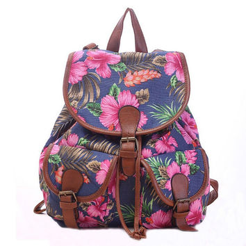 Women's Canvas Navy Floral Backpack School Daypack Travel Bag