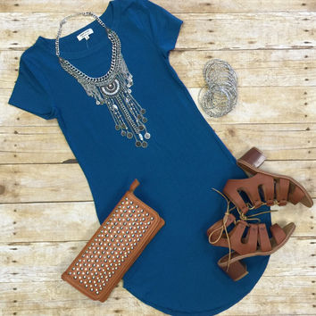 Fun in the Sun Tunic Dress: Teal