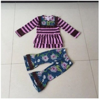 2pc Boutique Outfit GIGGLE MOON REMAKES-Flowers and Stripes,*CLOSES Nov 3rd* PREORDER #0019
