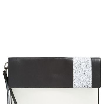 Halogen 'Racer Stripe' Python Embossed Leather Clutch