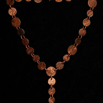 Penny Necklace, Adjustable Y Necklace from Various Sized Cut Penny Disc Beads, Handmade Coin Jewelry, Lucky Pennies