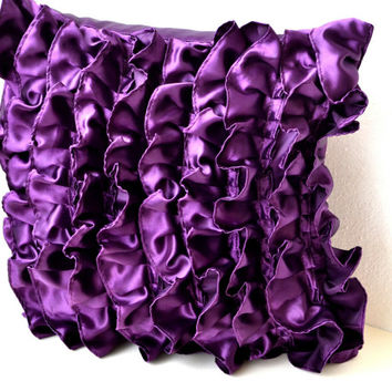 Purple Satin Ruffle Pillow - Decorative pillow - Purple Ruffle throw pillow - Ruffle throw cushion - 16x16 pillow - gift