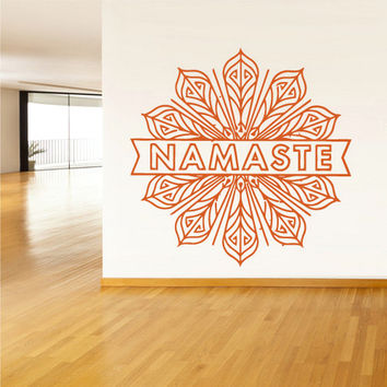 rvz1378 Wall Decal Vinyl Sticker Decals Namaste Words Quote Sign Letters Flower