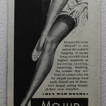 Vintage 1945 Mojud Dependable Hosiery Pin-up Girl Women Print Ad Advertising Wall Art Decor