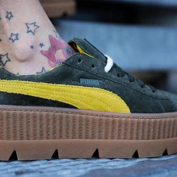 "LMFNO Rihanna x Puma Fenty Suede Cleated Creeper ""Green Yellow�66267-01"