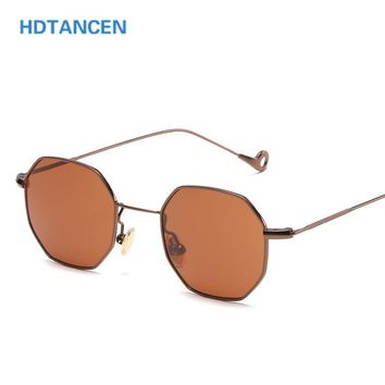 13 Colors blue yellow red tinted sunglasses women small frame polygon 2017 brand design vintage sun glasses for men retro