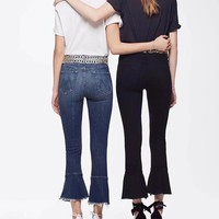 New Blue Pockets Buttons High Waisted Casual Flare Bell Bottom Nine's Jeans