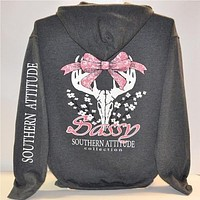 Southern Attitude Dogwood Cotton Skull bow Pullover Shirt Hoodie