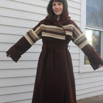 Brown Wrap Coat Junior Gallery Llama Wool Blanket Coat 70s Vintage S