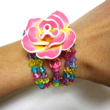 Day of the Dead Bracelet Sugar Skull Jewelry RoseYellow Pink Blue
