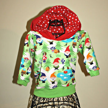 3-6 month Gnome Hoodie with red pixie hood, polka dot, lime green cuffs