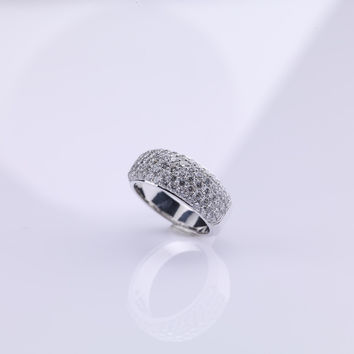 Wide Band Diamond Ring With Diamonds
