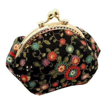 ICIKU7Q Xiniu Women Lady Retro Vintage Flower Cotton Fabirc Small Wallet Hasp Purse female cloth Clutch bag carteira feminina grande #6M