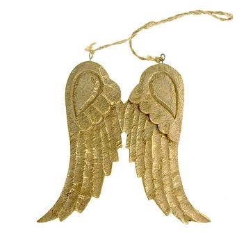Large Hanging Wooden Angel Wings Christmas Tree Ornament, Gold, 8-Inch