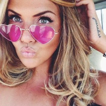 Fashion Heart-shaped Sunglasses for Girl Retro Metal Frame Pink Mirror Sunglasses Women Vintage Sun Glasses Eyewear #84059