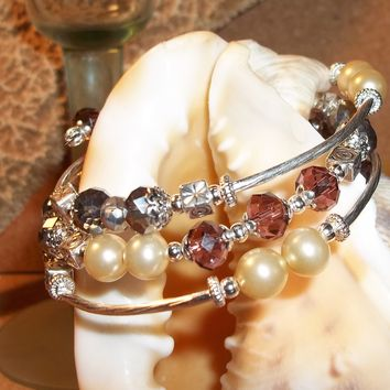 Rose & Silver Swarovski Crystals w/ Cream Pearl Bead Hand Crafted Silver Wrap Bracelet