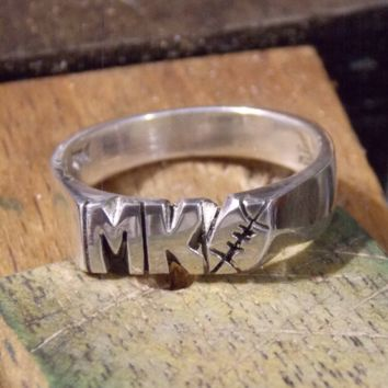 Hand Carved Initials Or Numbers With Foot Ball Design 6mm Silver Ring Personalized Custom Made