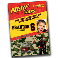 Nerf War Birthday Invitation, Nerf Wars Invitations, Nerf Invite, Nerf War Gathering, Nerf Wars Invites, Nerf Wars Invitation