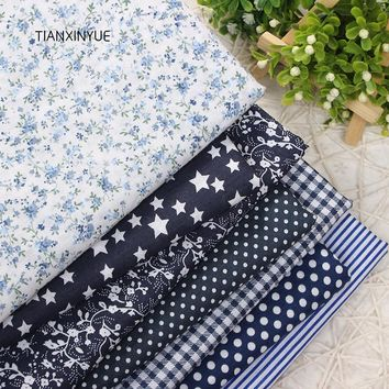 TIANXINYUE 7pcs 50cmx50cm Drak Blue 100% Cotton Quilts Fabric for DIY Sewing Patchwork Kids Bedding Bags Baby Cloth Fabric