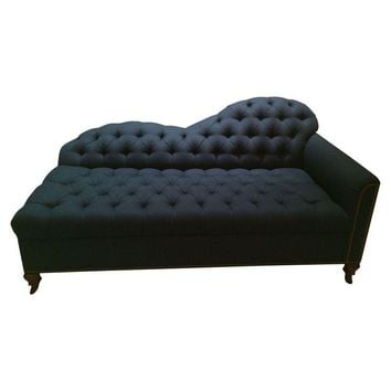 Pre-owned Navy Blue Tufted Chaise or Lounge