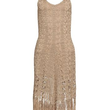 Fringe Hem Crochet Dress in Tan | VENUS