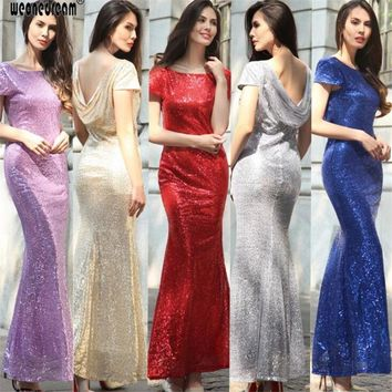 Long sequins evening dresses floor length 2017 long cheap lace up with zipper  red white  dress for party prom