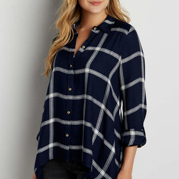 button down plaid shirt with shark bite hem | maurices