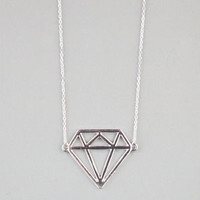 3D Diamond Pendant Necklace