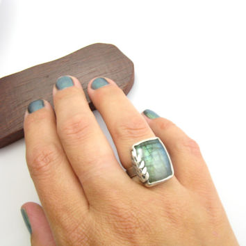 Sterling Silver Statement Labradorite Gemstone Ring Vine & Leaf Stone Ring Handmade Metal Work Jewelry Size 7.5 Labradorite Ring