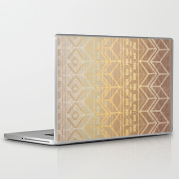 Neutral Tan & Gold Tribal Ikat Pattern Laptop & iPad Skin by micklyn