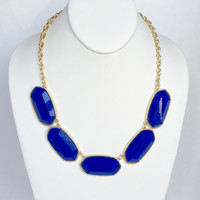 Del Norte Statement Necklace Set In Royal Blue