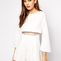 Club L Overlay Playsuit with Crochet Detail