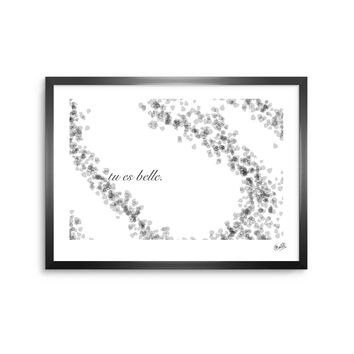 You Are Beautiful - Black White Typography Digital Framed Art Print