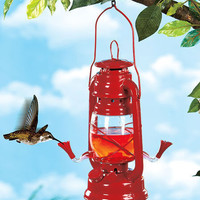Hanging Red Lantern Hummingbird Feeder With 2 Nectar Feeding Cups New