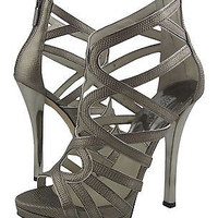 Michael Kors Strappy Open Toe Sandal with Silver Plated Heel and Back Zipper - 6 M