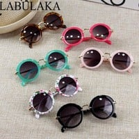 Vintage Kids Glasses Round Children Alloy Sun Glasses Baby Boys Girls Sun glass Goggles