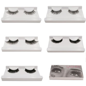 5 pairs New makeup kit curl 5 styles high quality single case false eyelashes lashes handmade make up black long eyelash